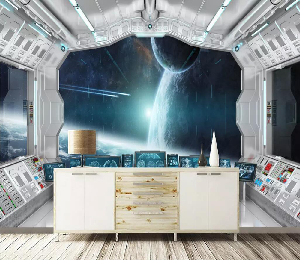 Commercial Wallpaper 3D Space Capsule Star Tunnel Space Background Wall