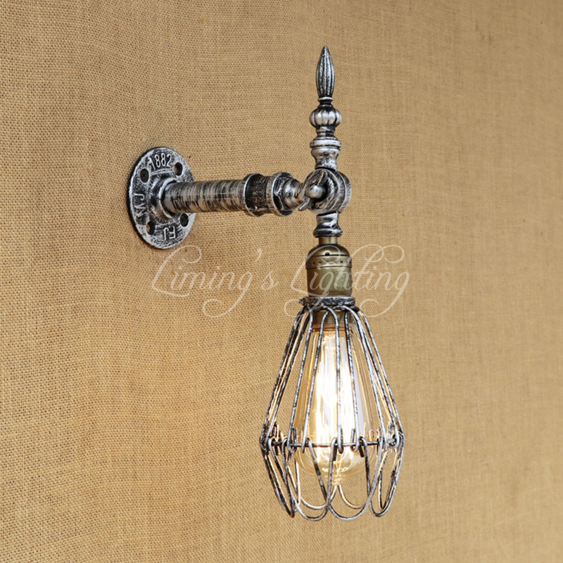 Vintage Loft Cage Wall Light Europe Industrial Wall Sconce Edison Bulb Wall Lamp Retro Metal Living Room Bedroom Restaurant Bar free shipping retro vintage wall light punk wall light edison bulbs metal black painting ceiling light for living room loft lamp