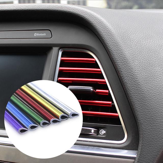 KEIN Car-styling plating Air outlet trim strip Interior Air Vent Grille Switch Rim Trim Outlet Decoration Strip DIY automotivo