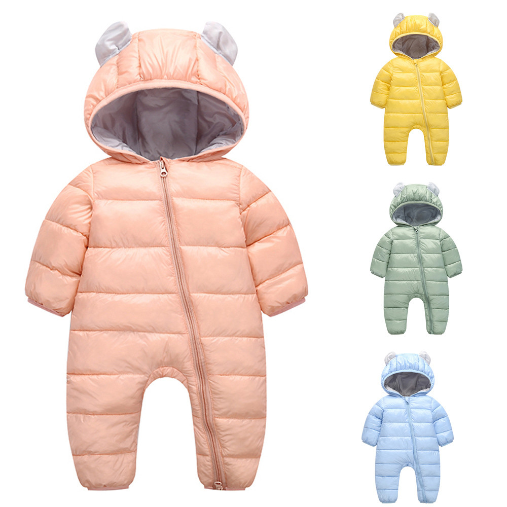 2019 Baby Boys Girls Rompers Kid Children Winter Thick Cotton Warm Clothes Hooded Romper Jumpsuit Outfits Vetement Enfant Fille
