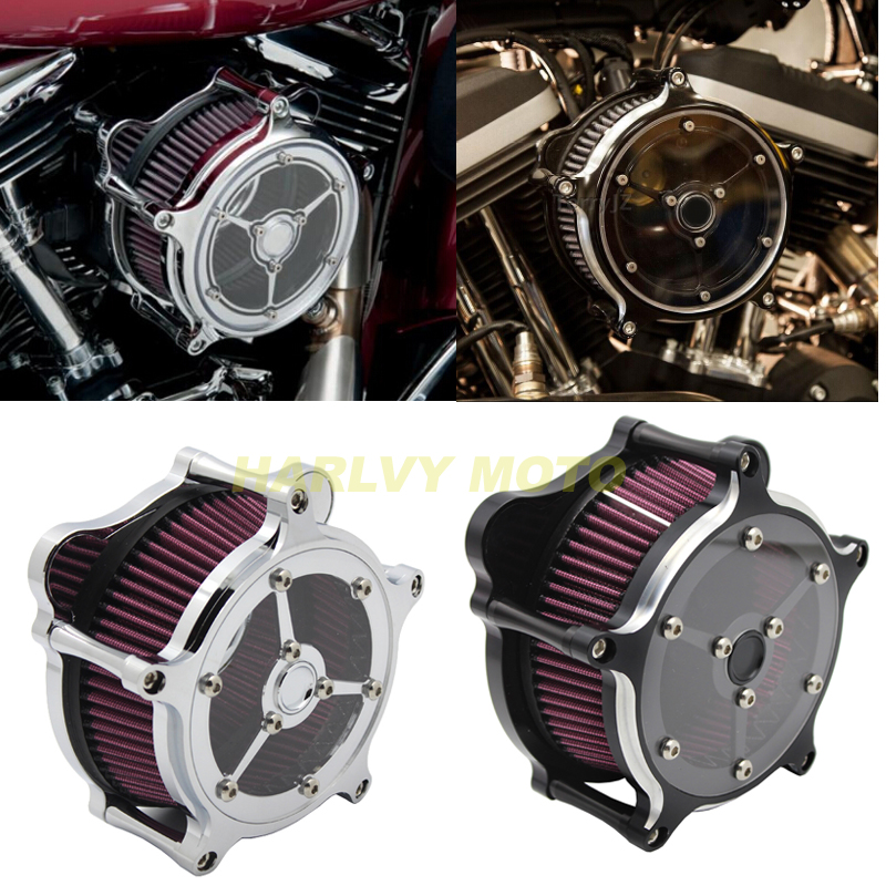 BLACK Chrome CNC Air Filter Cleaner Intake System For Harley Touring Road King Road Glide 2008