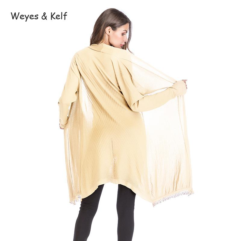 Weyes & Kelf Autumn Solid Long Cardigan <font><b>Sweater</b></font> <font><b>Women</b></font> <font><b>2018</b></font> Long Sleeved <font><b>Sweater</b></font> <font><b>Women</b></font> Coat Sueter Mujer <font><b>Invierno</b></font> Jumper image