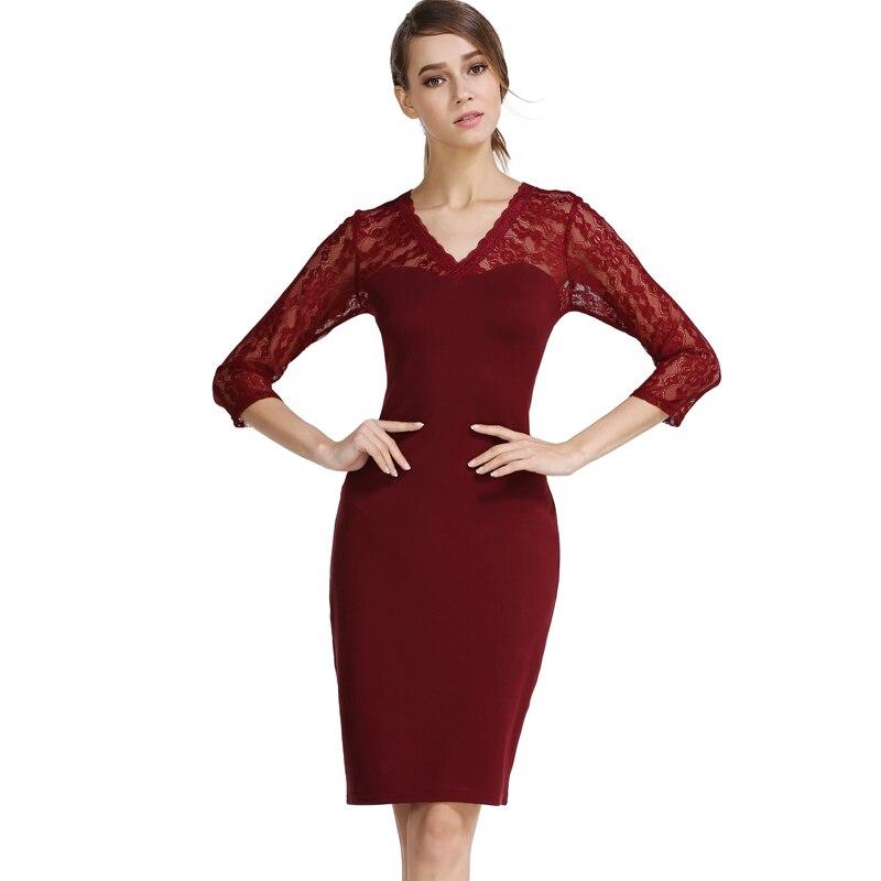 Buenos Ninos Womens elegante V-Ausschnitt Spitze Patchwork Cocktail - Damenbekleidung