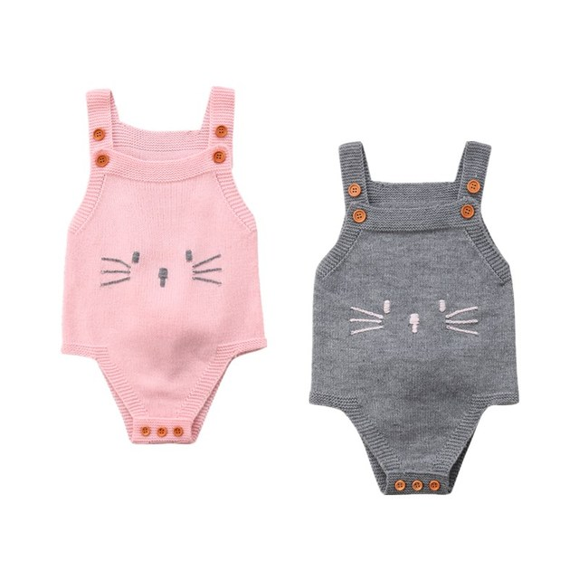 1542a2105fc7 Autumn Newborn Baby Girl Knitted Sleeveless Romper Playsuit Clothes Toddler  Girls Kids Cute Rabby Print Rompers Sunsuit Overalls. 1 order