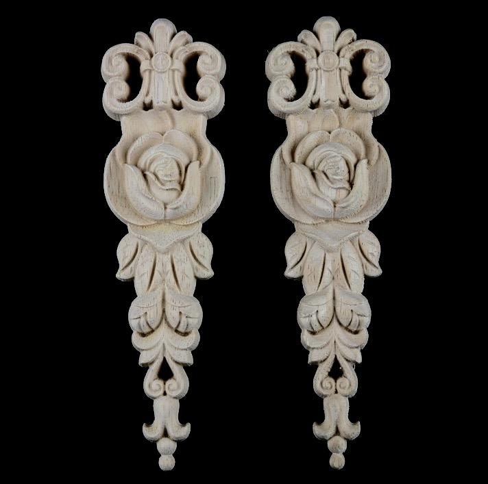 2Pieces/Lot 19x5.5x1cm  European Style Wood Decals Wardrobe Cabinets Flower Real Wood Decor