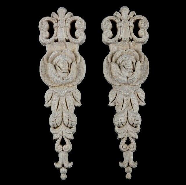 2 cái/lô 19x5.5x1 cm Phong Cách Châu Âu Gỗ Đề Can Tủ Tủ Quần Áo Flower Bất Gỗ Trang Trí Nội Thất
