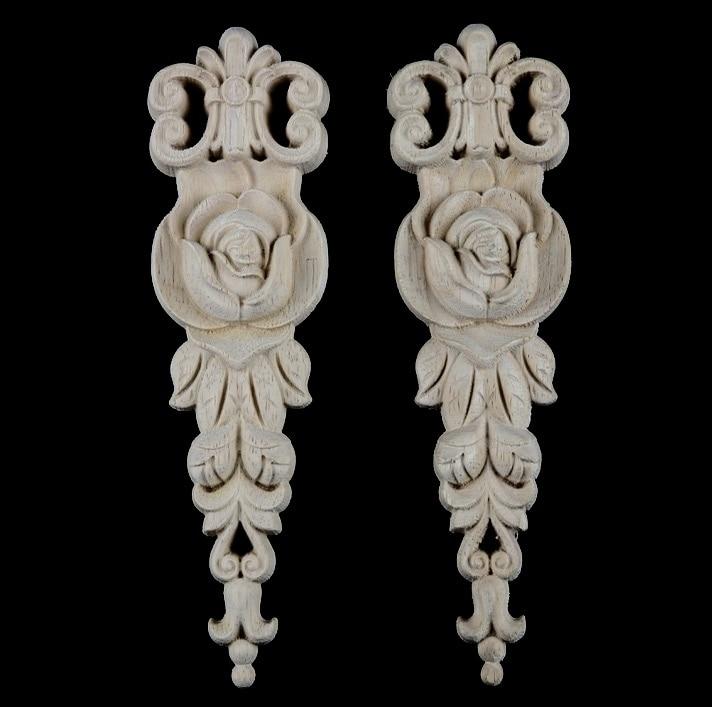 купить 2PCS/LOT 19x5.5x1cm European Style Wood Decals Wardrobe Cabinets Flower Real Wood Decor по цене 1182.48 рублей