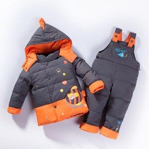 Image 2 - الروسية الشتاء الدافئة أسفل ملابس الأطفال الفتيات الشتاء الاطفال ملابس الأولاد سترة جاكيتات فستان للفتيات الثلوج الأسماك لطيف