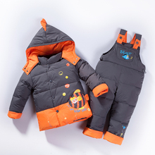 Русская зима теплая вниз детская одежда девушки зимой дети одежда мальчиков куртка куртки платье для девочек снег моды милые рыбы