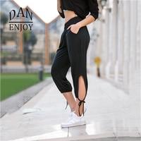 DANENJOY Yoga Pantalon Bandage Entraînement Creux Out Sports Gym Leggings Fiitness de Course de Sport Femmes De Compression Pantalon Noir