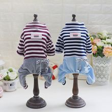 Модная одежда для щенка собачий полосатый комбинезон четырехконечные штаны жилет для собаки футболки