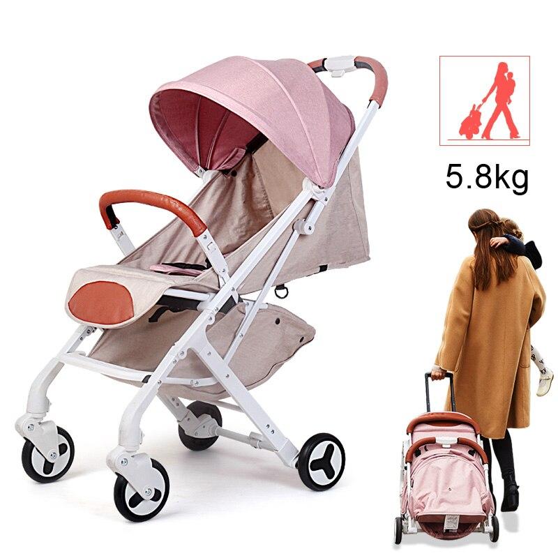 Baby stroller buggy for dolls child ultra-lightweight folding strollers for babies can sit can lie pram umbrella light troller цена