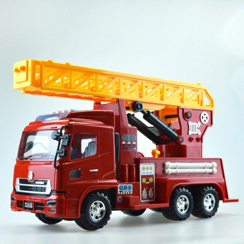 1 pièces luxueux exquis camion de pompier voiture modèle son et lumière échelle échelle véhicule jouets éducatifs enfants boîte-cadeau