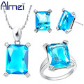 Almei 925 Silver Jewelry Sets Zircon for Women Wedding Bridals Fashion Purple Blue Crystal CZ Diamond Luxury Bijoux Set T151
