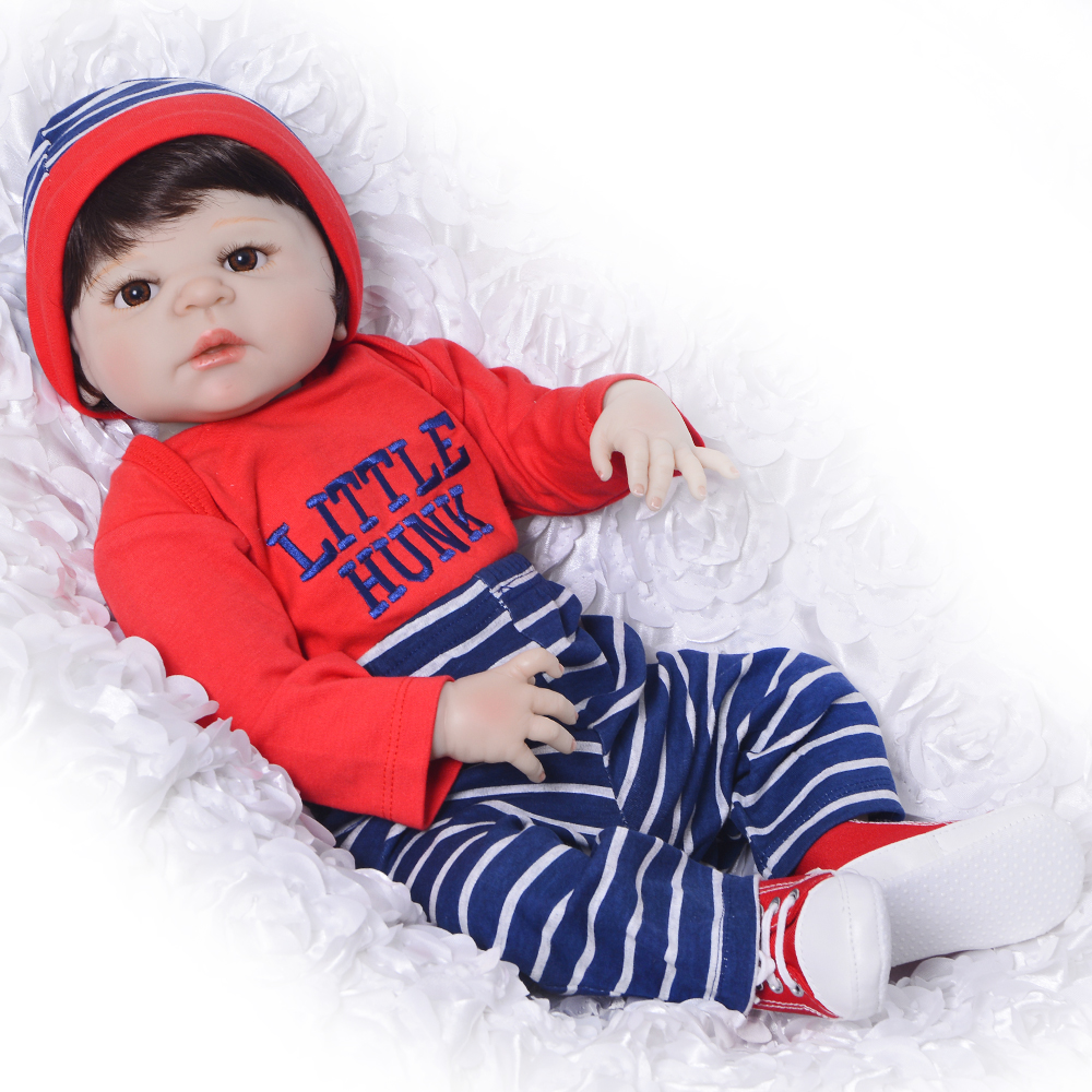Fashion 23 inch Reborn Baby Dolls Toy Wholesale 57 cm Full Silicone Vinyl Reborn Dolls Realistic boy Babies DIY 2017 Xmas Gift