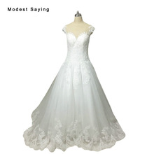 Elegant Ivory A Line Lace Wedding Dresses 2017 with Buttons Formal Women White Church Long Bridal Gowns vestido de noiva XW90