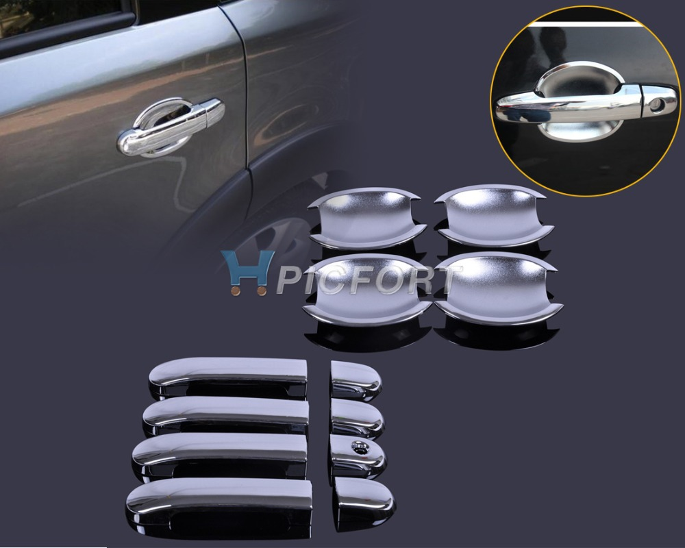 Citall new exterior molding chrome door handle cover cup bowl combo for nissan versa tiida