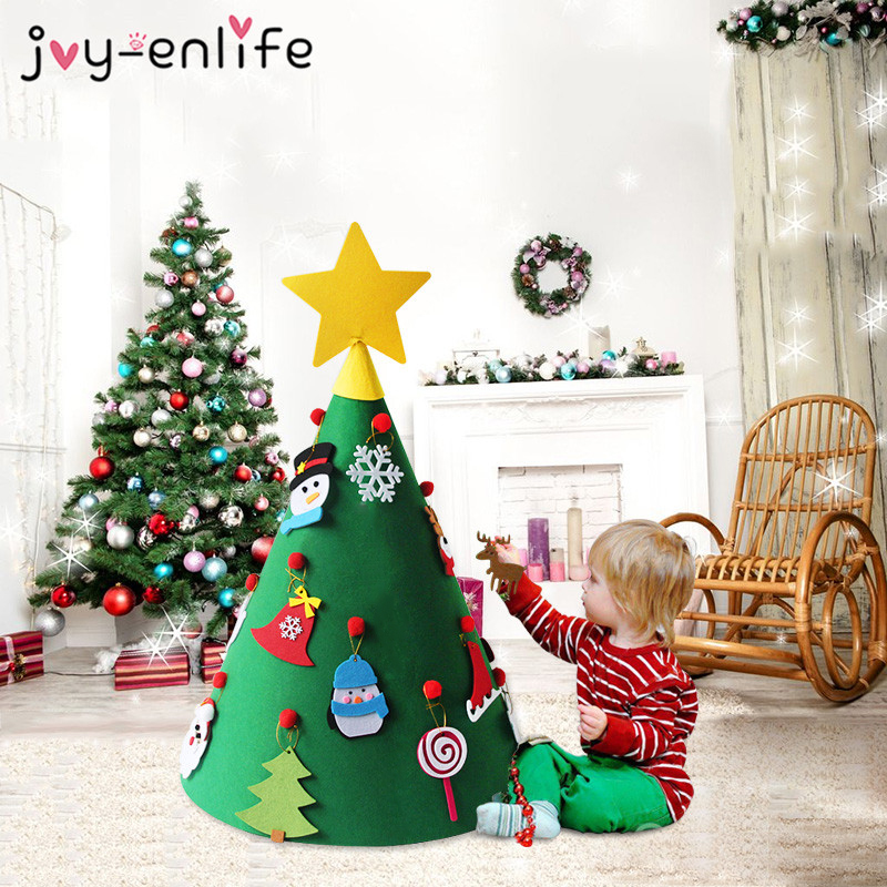 JOY ENLIFE 3D Felt Christmas Tree with Ornaments New Year Gifts for ...