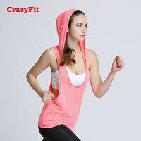 CrazyFit 2018 Yoga Üst Hoodies Kadınlar Kolsuz Spor Tank Top Gym Fitness Koşu Egzersiz Kadın T-shirt Üstleri Giyim Gömlek