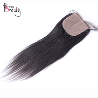 Silk Base Closure Brazilian Straight Human Hair Closure 4x4 Free Part With Baby Hair Bleached Knots Ever Beauty Remy Hair