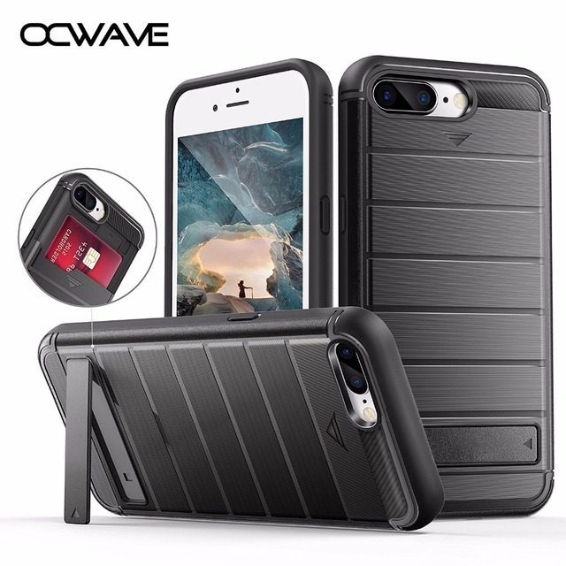 detailed look d4794 91a17 US $3.59 10% OFF| Shockproof case for iPhone 7 Plus Luxury wallet credit  card holder with Kickstand support 360 protect men's style -in Fitted Cases  ...