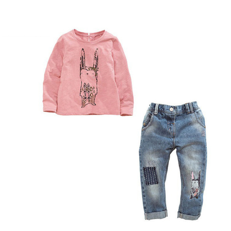 2017 New Spring Baby Children Girls Clothing Sets Cartoon Rabbit Cotton Clothes Long Sleeve T-Shirt+Jeans Sets Suit 12M-4T  wasailong children s clothing sets for spring baby boy suit long sleeve plaid shirts car printing t shirt jeans 3pcs suit set