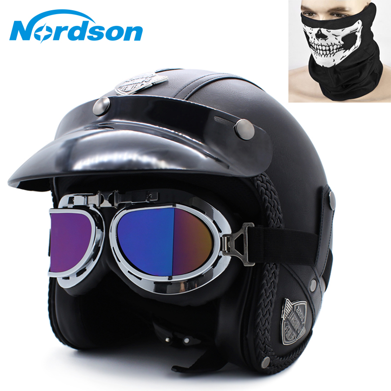 Nordson Motorcycle Helmet Classic Style Leather For Harley Men Exposed Motocross Helmet Goggles Face Masks