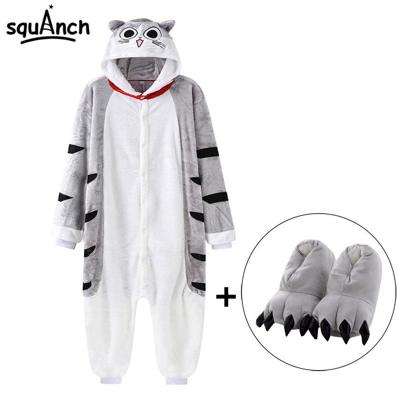 Chi Cat/комбинезон с тапочками; кигуруми кингуруми Kawaii Kitty; Пижама с животными; kuguurumi; для женщин и девочек; комбинезон для взрослых; зимняя теплая мягкая уличная одежда; комбинезон