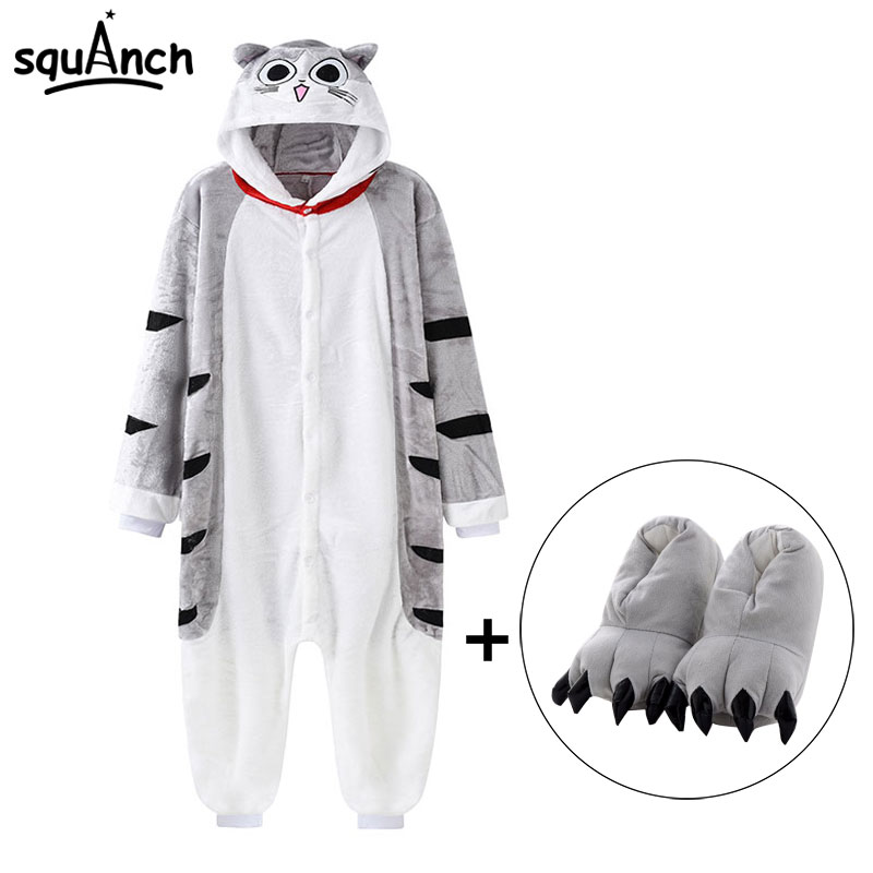 Chi Cat Onesie With Slippers Kawaii Kitty Pajama Animal Kugurumi Women Girl Adult Overall Winter Warm Soft Street Wear Jumpsuit