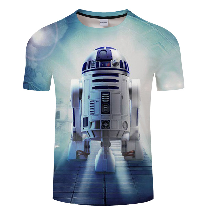 2018 summer joker breathable fashion product launches men's short sleeve 3 d printing robot wars S---6XL drop ship