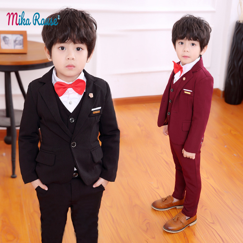 b470eb5f101fd US $38.37 39% OFF|Kids slim suits for boys blazer baby formal party clothes  toddler boy wedding suits casual black blazers children outfits 2 12Y-in ...