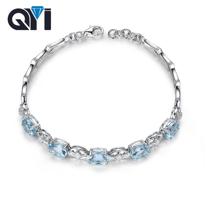 QYI 925 Sterling Silver Gemstone Bracelets 375 ct Oval cut Natural sky Blue Topaz Bracelets For Women Color Gems Wedding gift