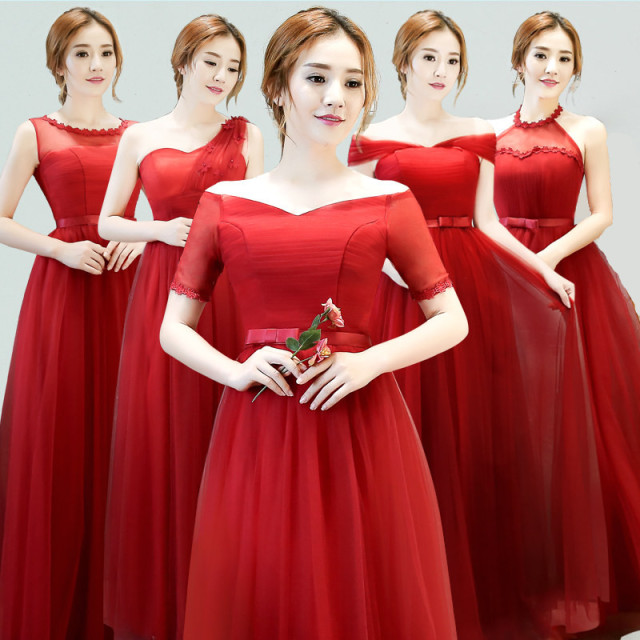 Wine Red Bridesmaid Dresses Long Boat Neck Short Sleeves Elegant ...