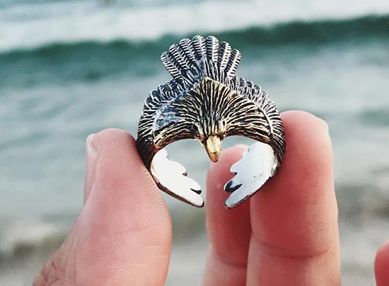Sterling S925 silver rings 925 eagle vintage trendy ring 27mmSterling S925 silver rings 925 eagle vintage trendy ring 27mm