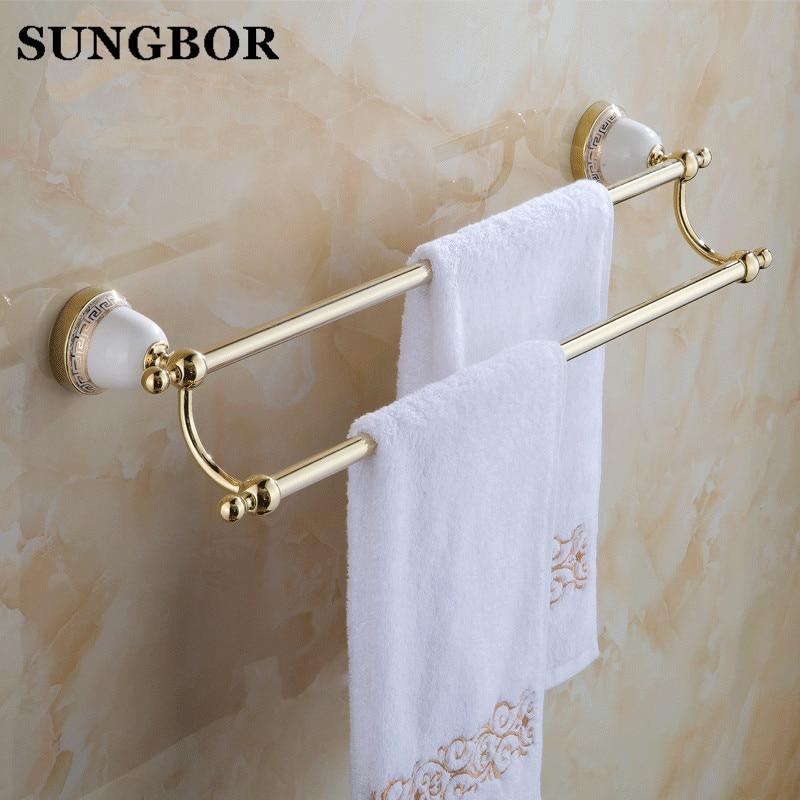 ФОТО European porcelain sanitary towel rack gold plated double towel bar double pole bathroom hardware accessories GJ-5611K