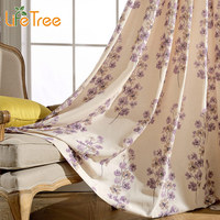 Elegant Purple Flowers Printed Thick Drapes For Bedroom Window Curtains And Tulle In Living Room Decoration