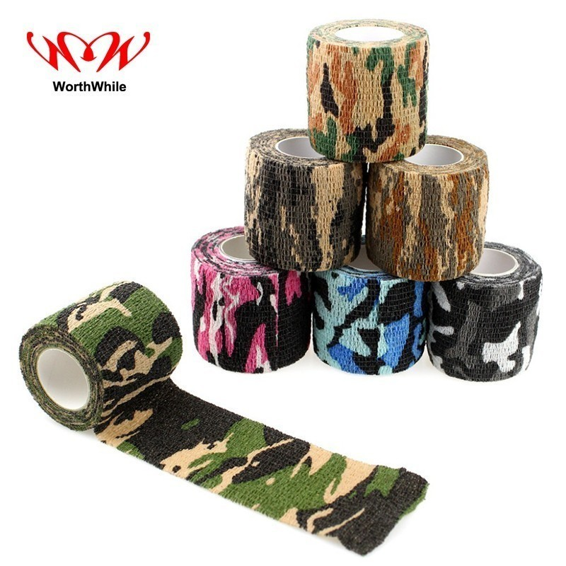 WorthWhile 5 Piece/lot Self Adhesive Camouflage Elastic Tape Camo Wrap Outdoor  Military Survival Bandage Emergency Kit SOS
