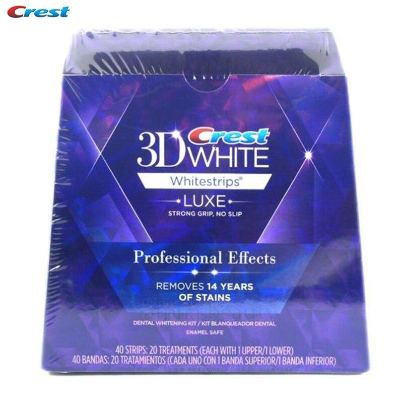 3D Blanc Whitestrips Dents Blanchiment Des Dents Bandes Luxe Professionnel Effets Hygiène Dentaire Oral 20 pochettes 40 bandes d'origine