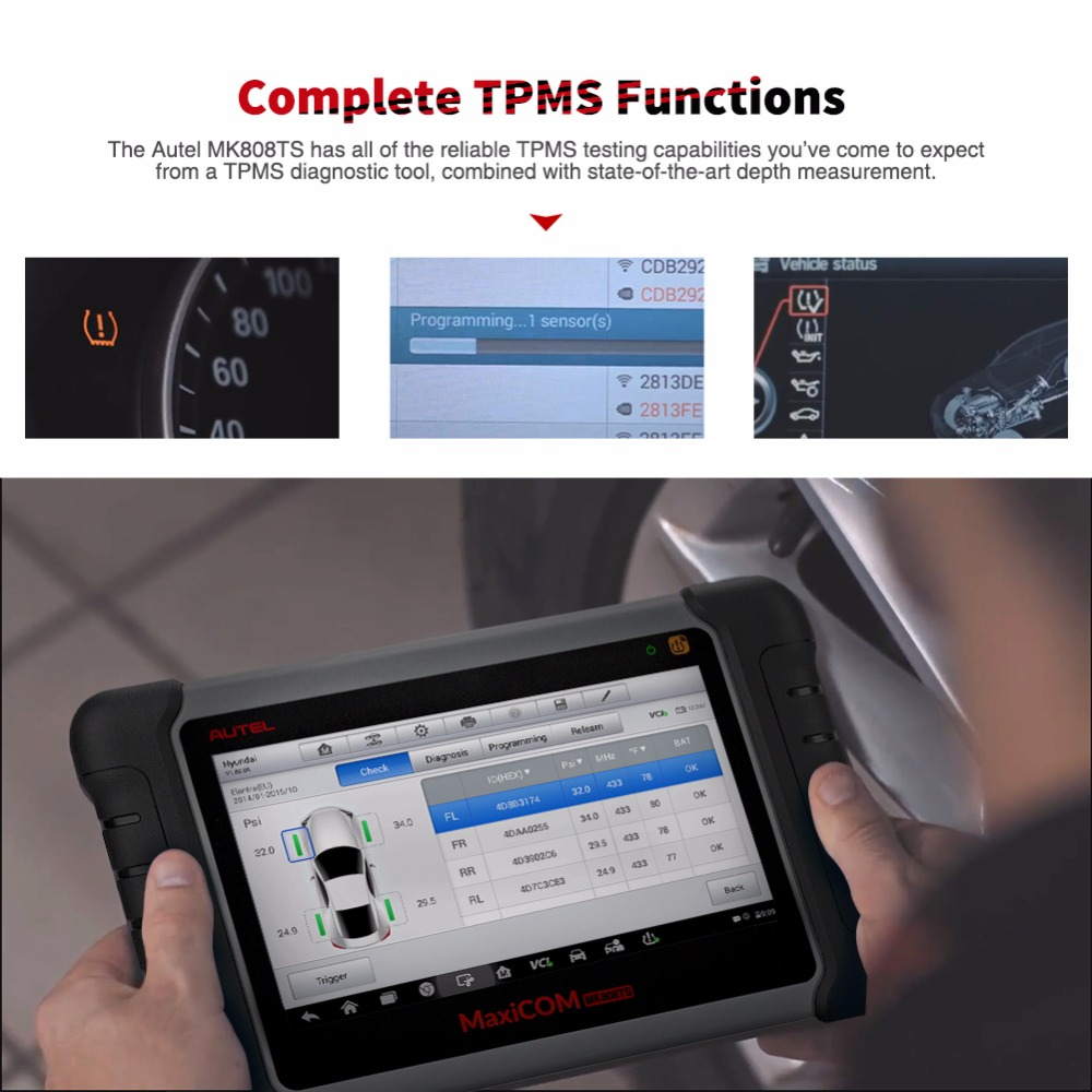 Image 2 - Autel MaxiCOM MK808TS as MK808 add TS601 TPMS Service OBD2 Car Diagnostic Tool OBD 2 Scanner Key Coding PK Maxisys MS906TS MK808-in Code Readers & Scan Tools from Automobiles & Motorcycles
