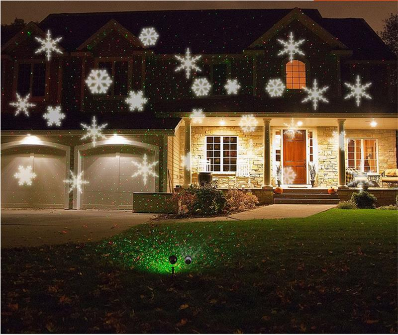 christmas snowflake laser lights snow led landscape light outdoor holiday garden decoration projector moving pattern spotlight in outdoor landscape lighting