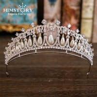 Betonowa CZ Tiara korona panny młodej cyrkon łza kropla perła Diadema ślubne akcesoria do włosów biżuteria księżniczka Mariage korona tiary