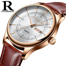 Högkvalitativ Rose Gold Dial Watch Men Läder Vattentät 30M Klockor Business Fashion Japan Quartz Movement Auto Date Male Clock