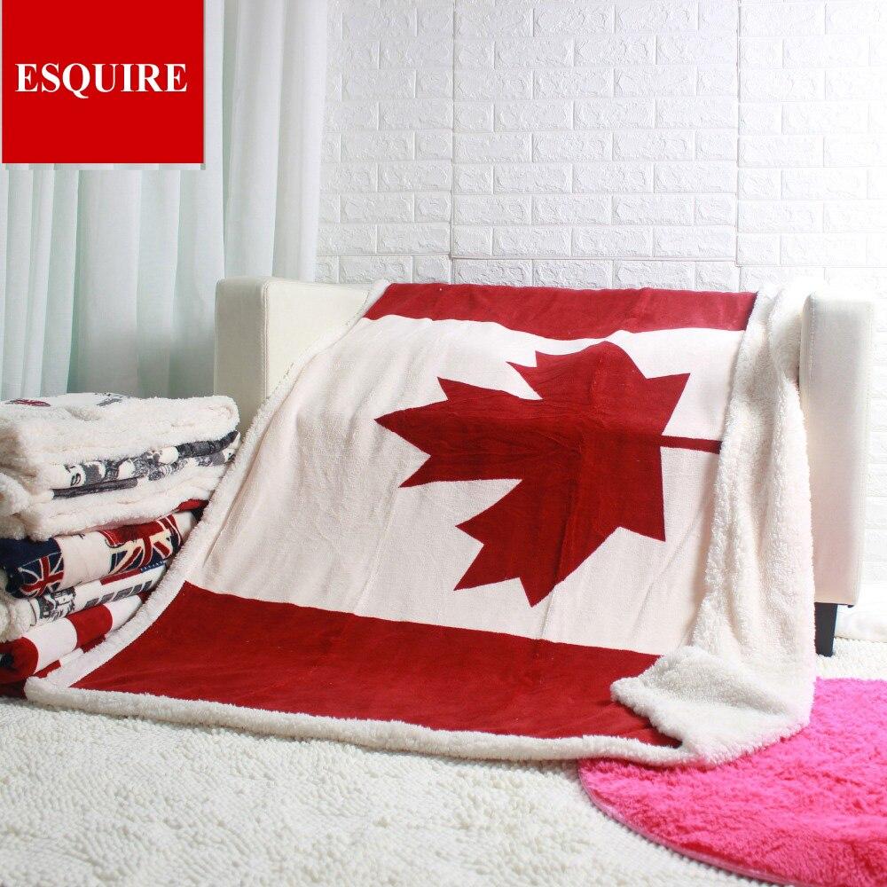 Doble capa gruesa de la hoja de arce canadiense de la bandera de Canadá sherpa de peluche manta 130x160 cm