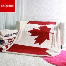 Dubbele laag dikke canadese esdoornblad canada vlag sherpa pluche worp deken 50x60 inch