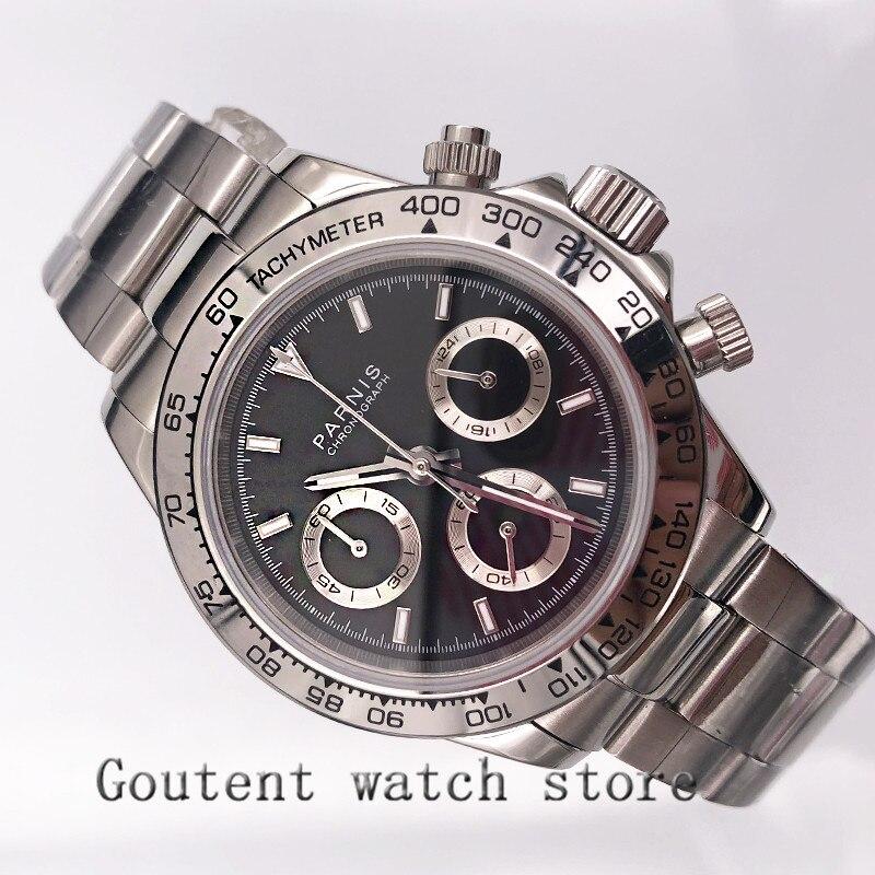 39mm PARNIS cadran noir saphir verre solide chronographe quartz montre hommes