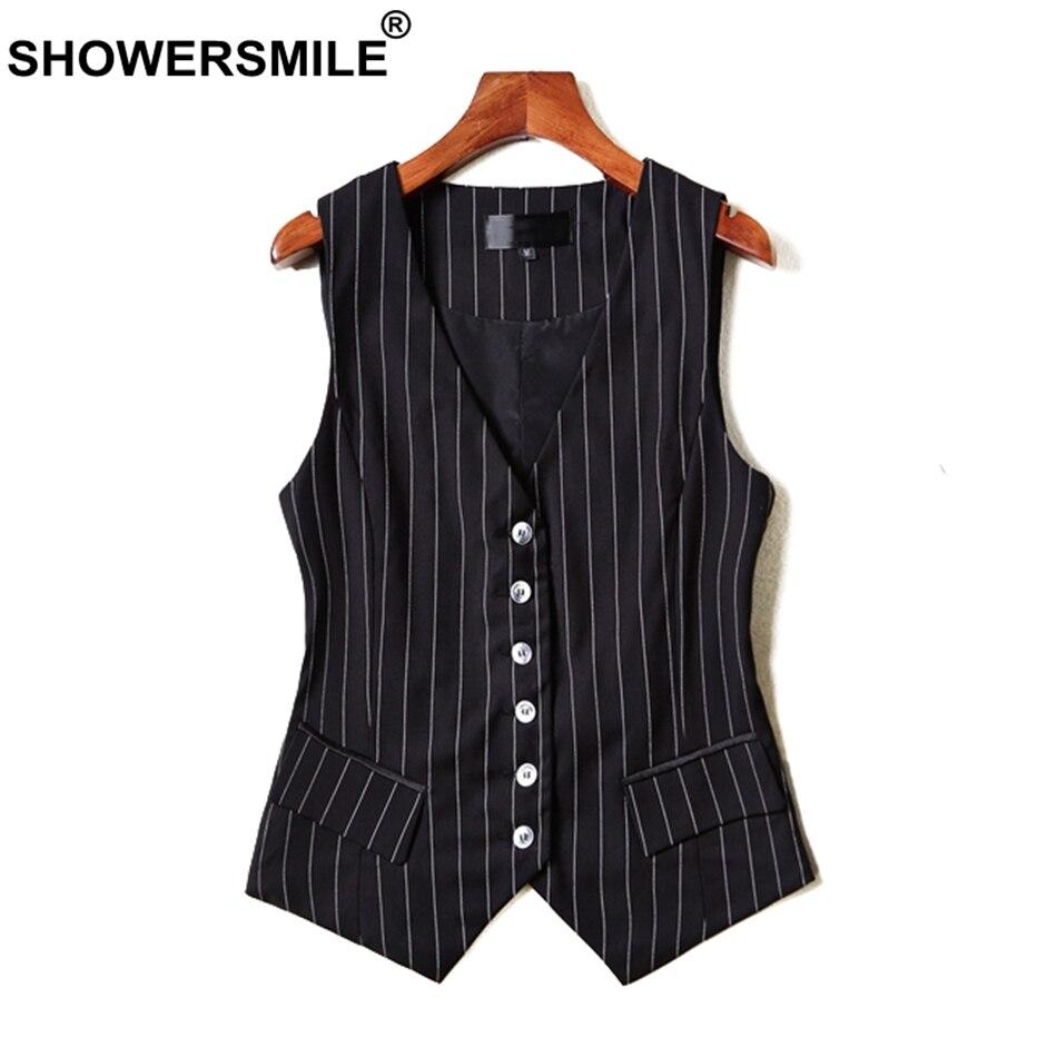 SHOWERSMILE Short Vests For Women Black Stripe Sleeveless Jackets Ladies OL Slim Fit Waistcoat Female Autumn
