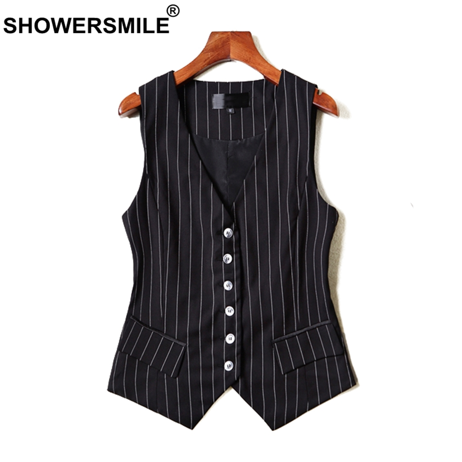 SHOWERSMILE Short Vests For Women Black Stripe Sleeveless Jackets Ladies OL Slim Fit Waistcoat Female Autumn Formal Suit Vest