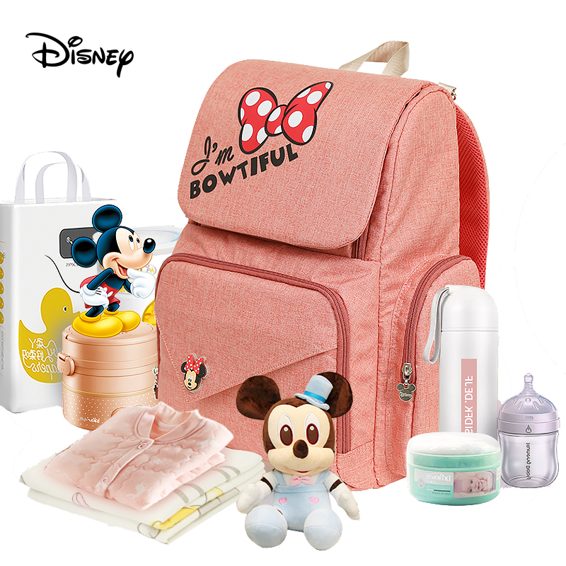 Disney diaper bag usb mickey mouse bag Zipper Multi functional maternal and child bag backpack wetbag