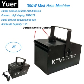 Double Smoke Outlets High Power 300W Stage Mist Haze Machine LED DMX512 Control Lighting Effect