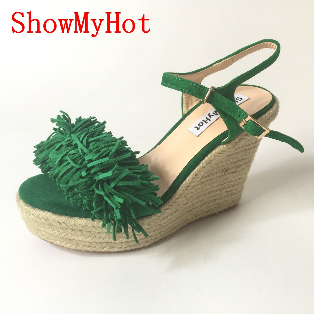 f74a1b0aa78f7 ShowMyHot Sexy Open toe Weave Patch Color Wedges Gladiator Sandals Women  High Heels Platform Sandals Summer Women s tassel Shoes